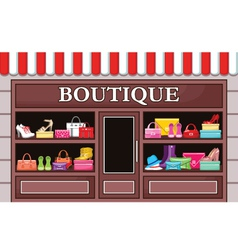 Picture of a fashion boutique with shoes and bags vector