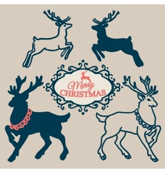 Set - symbols and elements and christmas reindeer vector