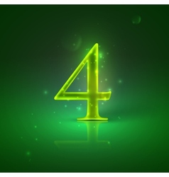 4 green glowing number four vector