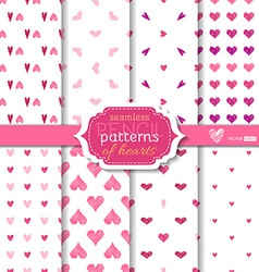 Light seamless pencil patterns of hearts vector