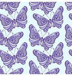 Zentangle stylized Butterfly seamless pattern Hand vector image