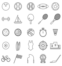 Sport line icons on white background vector