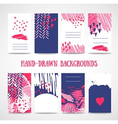 Hand drawn 8 cards with trendy textures business vector