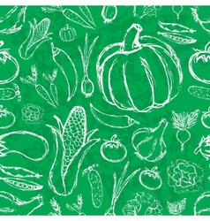 Simple hand drawn doodle vegetables on green board vector