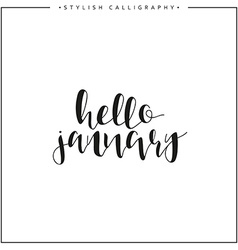 Hello january time of year calligraphy phrase in vector