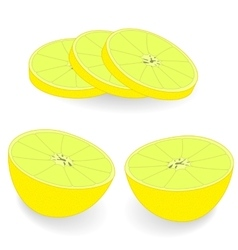 Slices of lemon on a light background vector