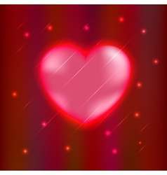 Abstract glow Heart isolated on red background vector image