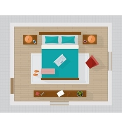 Bedroom with furniture overhead top view vector