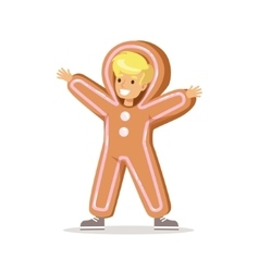 Boy in ginger bread man outfit dressed as winter vector