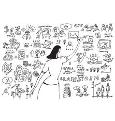 Business woman doodles presentation vector image vector image