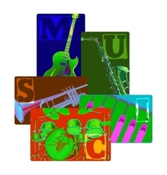 Classical musical instruments on color vector image