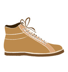 Color sketch of male leather boot with shoelaces vector