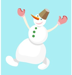 Dancing snowman with a bucket on his head on a vector
