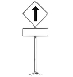 Drawing of one way arrow traffic sign vector