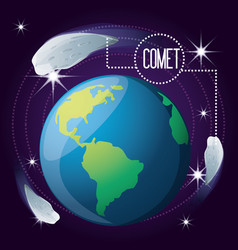 Earth planet with comet around vector