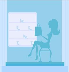 Fashion girl silhouette shopping in shoe shop vector