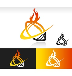 Fire Swoosh Football Logo Icon vector image vector image