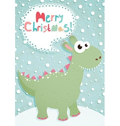 funny christmas postcard with dragon vector image vector image
