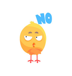 funny puzzled cartoon comic chicken with phrase no vector image vector image