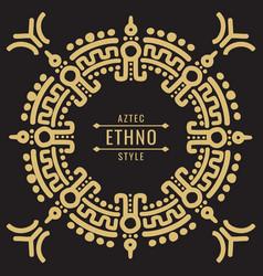 gold mexican tribal frame design - ethno atzec vector image vector image
