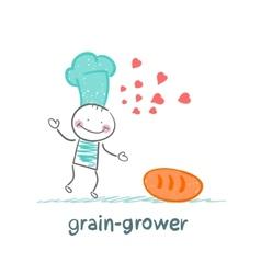 grain grower reads bread recipe vector image vector image