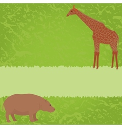 Green card with giraffe and hippo vector