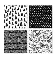 hand drawn doodle abstract seamless pattern set vector image vector image