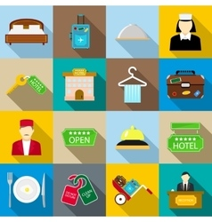Hotel icons set flat style vector image