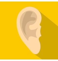 Human ear icon flat style vector
