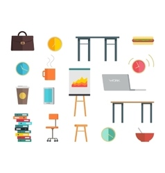 Interior office elements set vector