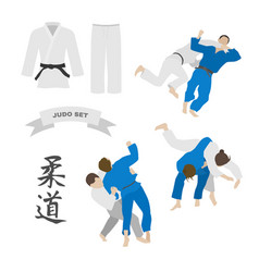 Judo set kimono and throws vector