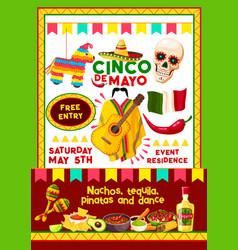 Mexican cinco de mayo party invitation card vector
