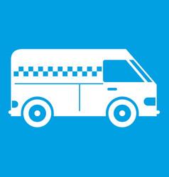 Minibus taxi icon white vector