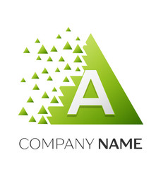 Number a logo symbol in colorful triangle vector