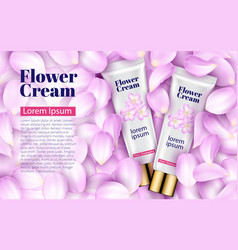 pink cream tube soft background petals flowers vector image vector image