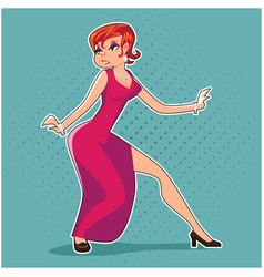 Popart pin-up femme fatale woman spy thief action vector