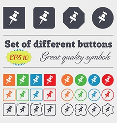 push pin icon sign Big set of colorful diverse vector image