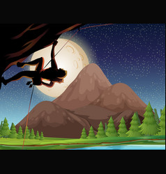 Rock climbing on fullmoon night vector