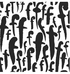 seamless pattern with calligraphy letters f vector image vector image