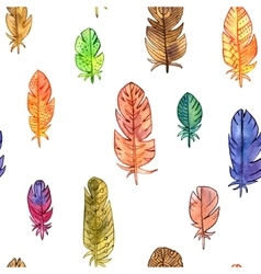 Seamless pattern with watercolor feathers vector