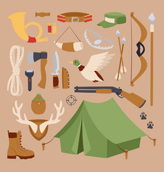 Set of hunting symbols camping objects design vector