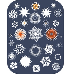 Snowflake Set Isolated vector image vector image
