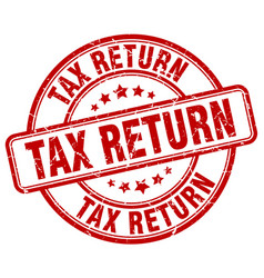Tax return red grunge round vintage rubber stamp vector