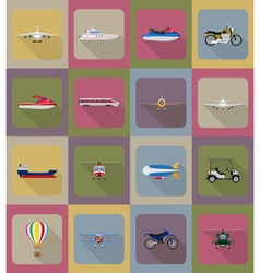 transport flat icons 80 vector image vector image