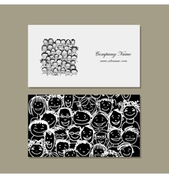 Business cards people crowd for your design vector