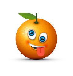 Orange crazy emoji vector
