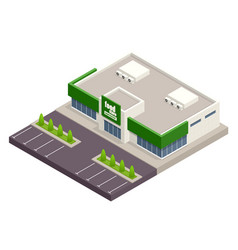 The supermarket with parking and shopping carts vector