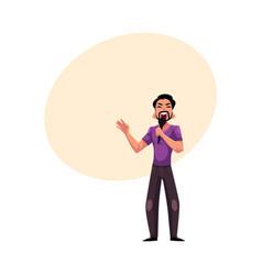 young latin man singing karaoke holding vector image