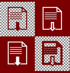 File download sign  bordo and white icons vector