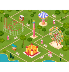 amusement park isometric seamless pattern vector image